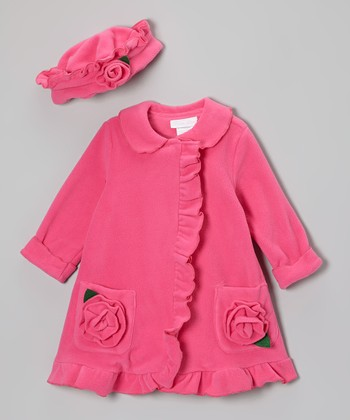 Fuchsia Ruffle Rosette Fleece Coat & Hat - Infant, Toddler & Girls