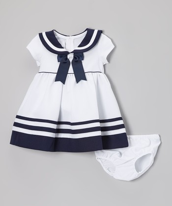 White & Navy Nautical Dress & Diaper Cover - Infant & Toddler
