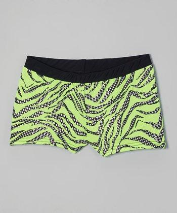 Butterfly TREASURES Lime Zebra Shorts - Girls