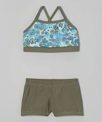 Butterfly TREASURES Blue Floral Sports Bra & Army Green Shorts - Girls