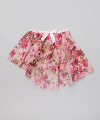 Pink Floral Bow Chiffon Skirt - Toddler & Girls