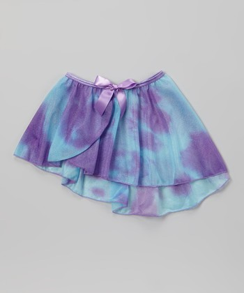 Blue & Purple Watercolor Bow Chiffon Skirt - Toddler & Girls