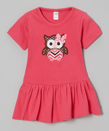 Fuchsia Polka Dot Owl Drop-Waist Dress - Infant & Toddler