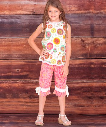 White Fiorito Adelynn Top & Capri Pants - Infant, Toddler & Girls