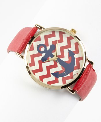 Red & Navy Anchor Zigzag Watch