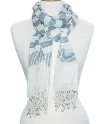 Navy & White Stripe Scarf