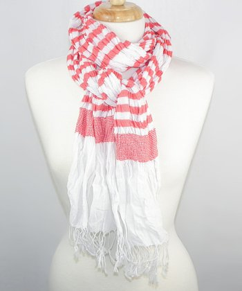 White & Red Stripe Scarf