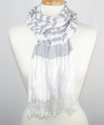 White & Gray Stripe Scarf