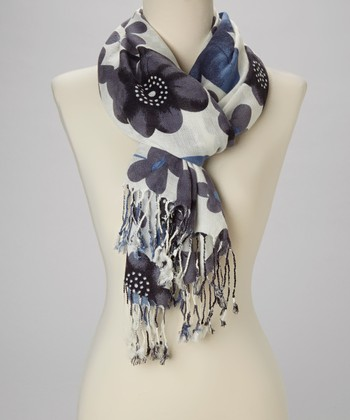 Blue & Gray Floral Scarf