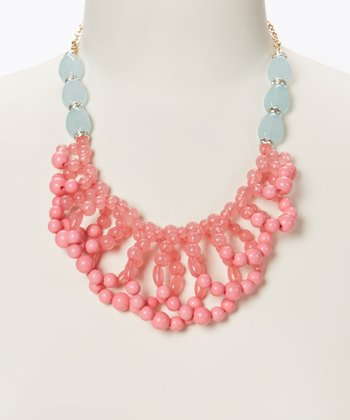 Pink & Ocean Blue Cherry Blossom Bib Necklace