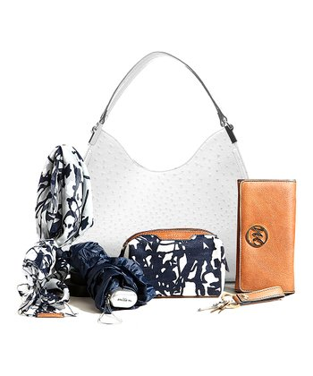White Ostrich Irene Hobo & Essentials Set