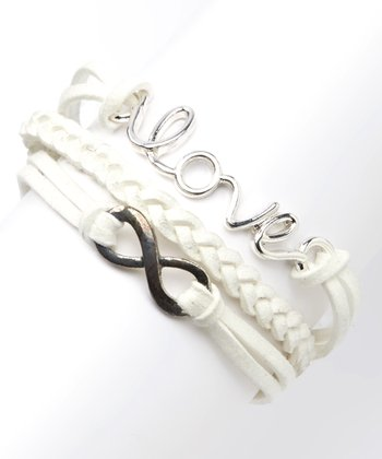 White & Silver 'Love' Braided Bracelet