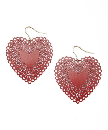 Red Cutout Heart Earrings