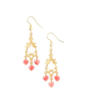 Gold & Pink Cherry Quartz Chandelier Drop Earrings