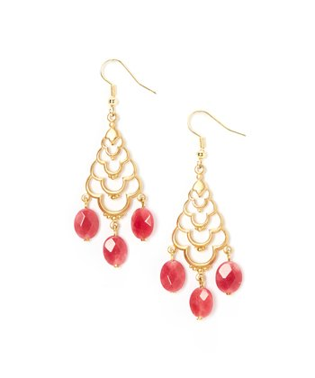 Gold & Pink Agate Chandelier Drop Earrings