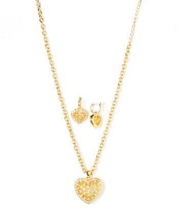Gold & Sparkle Netted Heart Pendant Necklace & Earrings