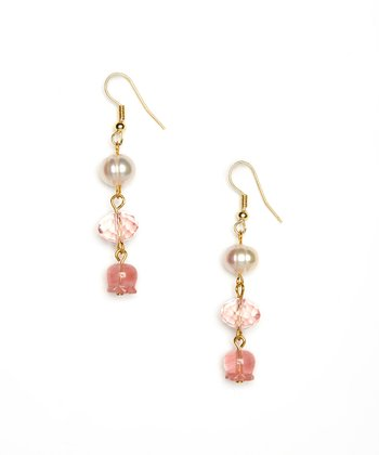 Pink Quartz & Pearl Drop Earrings