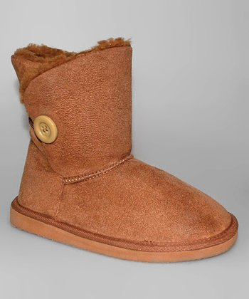 Brown Button Boot - Women