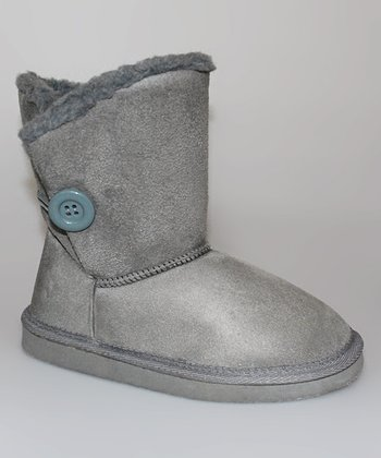 Gray Button Boot - Women