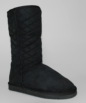 Black Quilted Boots - Women