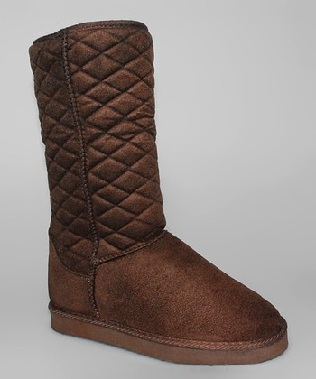 Brown Quilted Boots - Women