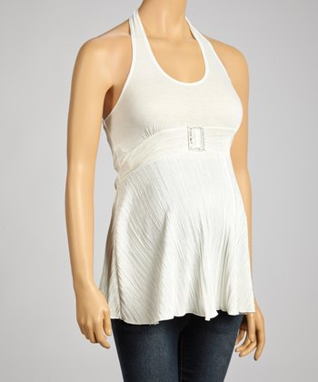 QT Maternity White Embellished Maternity Halter Top - Women
