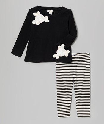 Truffles Ruffles Black & White Flower Tunic & Stripe Leggings - Infant