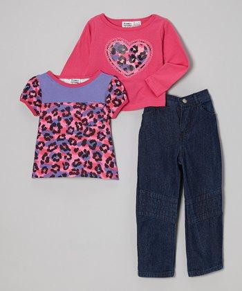 Peanut Buttons Fuchsia Leopard Heart Tee Set - Infant, Toddler & Girls
