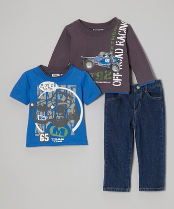 Blue 'Off Road Racing' Layered Tee Set - Infant, Toddler & Boys