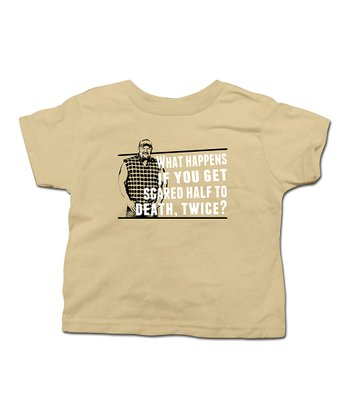 Khaki 'Scared Half to Death, Twice?' Tee - Toddler & Boys
