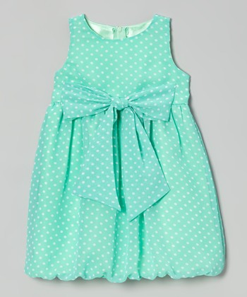 Blueberry Twirl Mint Polka Dot Rachel Bubble Dress - Toddler & Girls