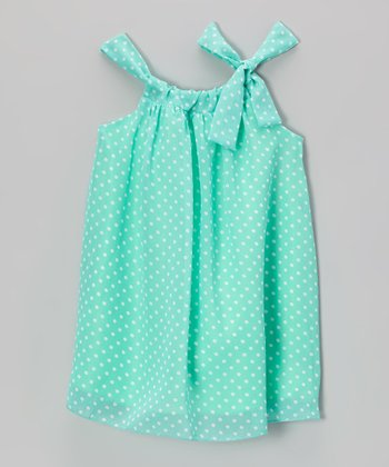 Mint Polka Dot Sydney Dress - Toddler & Girls