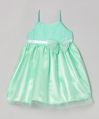 Blueberry Twirl Mint Bow Bianca Dress - Infant, Toddler & Girls