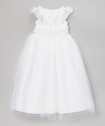 Cinderella Couture White Floral Rosette Overlay Dress - Girls