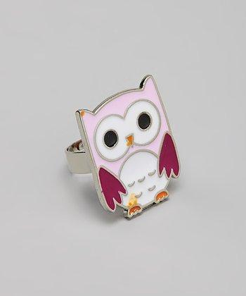 Purple & White Owl Ring