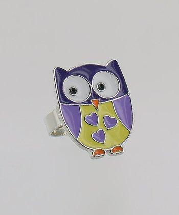 Purple & Yellow Owl Ring