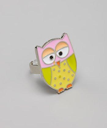 Pink & Yellow Owl Ring