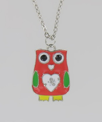 Red Heart Owl Necklace