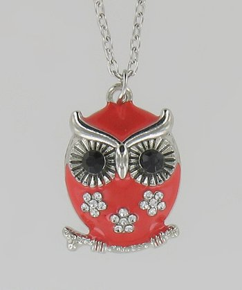 Red Flower Owl Necklace