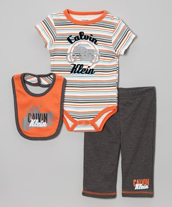 Orange Motorcycle Stripe Bodysuit Set