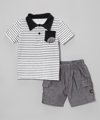 Black & White Stripe Polo & Gray Shorts