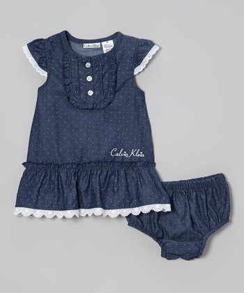 Navy Pin Dot Chambray Cap-Sleeve Dress & Diaper Cover