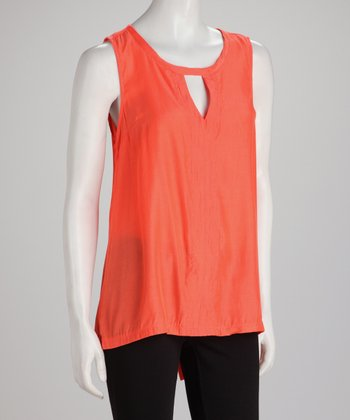 Coral Keyhole Hi-Low Sleeveless Top