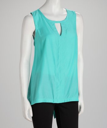 Mint Keyhole Hi-Low Sleeveless Top