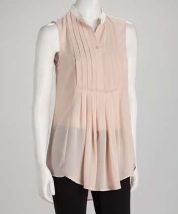 Blush Sheer Pleated Sleeveless Top