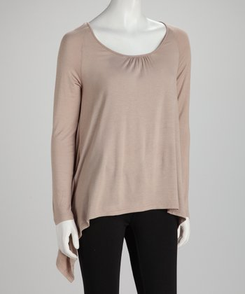 Taupe Long-Sleeve Sidetail Top