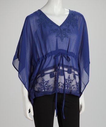 Royal Blue Sheer Tie-Waist Drape Sleeve Top