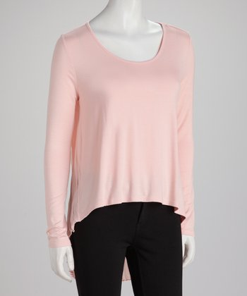 Blush Long-Sleeve Hi-Low Top