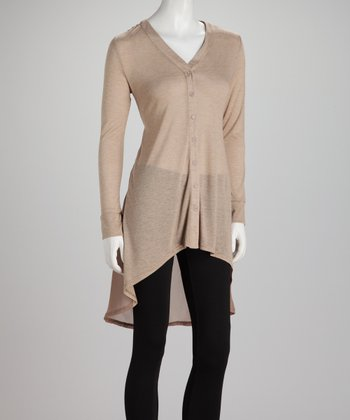Taupe Sheer Tie-Back Hi-Low Cardigan