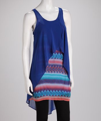 Royal Blue Surplice Layered Sleeveless Tunic